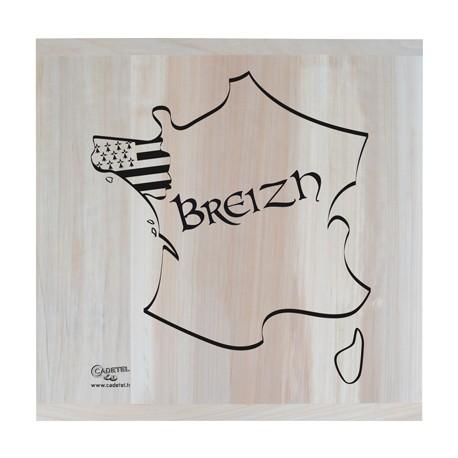 "PLANCHE PEUPLIER ""BREIZH"" CARTE (70 x 70 CM)"